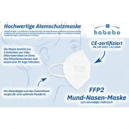 FFP2 Atemschutzmaske, CE-zertifiziert, Vlies, weiss