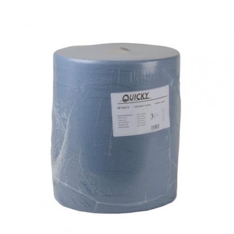 Industriepapierrolle blau 100%  Recyclingpapier, geprägt, 3-lagig