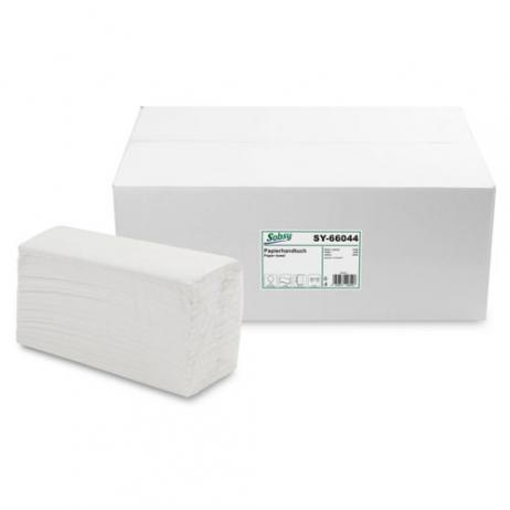 Papier-Falthandtuch 22,5 x 30,5 cm, recycling weiß (hoher Weißgrad), C-Falz, 2-lagig